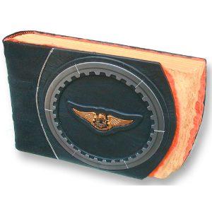 Harley Davidson Gear Wing Crest Emblem Leather Scrapbook Album