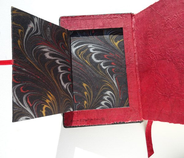 Hidden Compartment in Bible Cover with marbled paper