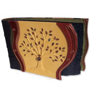 Leather Family Tree Scrapbook Photo Album with 50 Copper Leaves