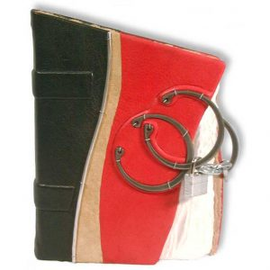 Askew Locked Red Leather Journal with three rings