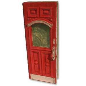 Red Leather Door Journal with Glass Window and Handformed Copper Hardware