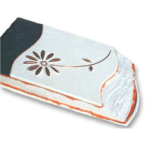 White Leather Wedding Flower Guest Book with Copper Daisy
