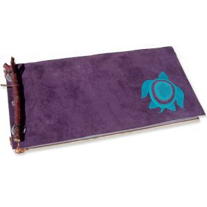Purple Leather Sea Turtle Journal with Twig