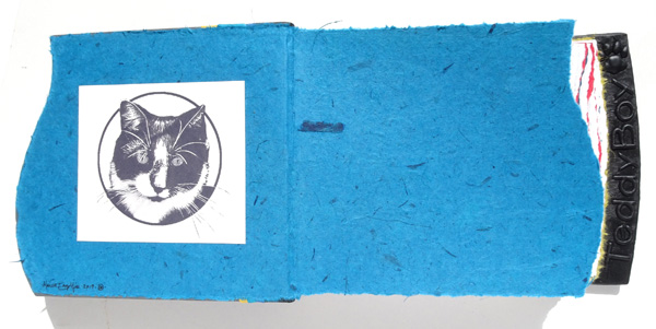 handmade paper coversheets with cat logo in customized pet album
