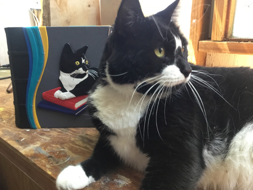 black and white tuxedo cat posed with customized pet album in leather