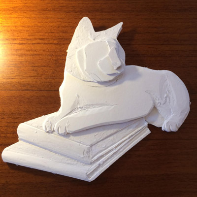 building a cat sculpture for a book cover